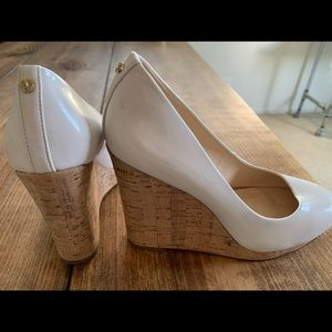 Nude Patent Leather Wedge with Cork Heel